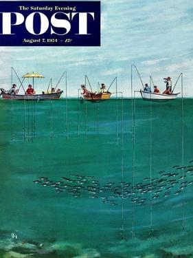"""School of Fish Among Lines"" Saturday Evening Post Cover, August 7, 1954 by Thornton Utz"