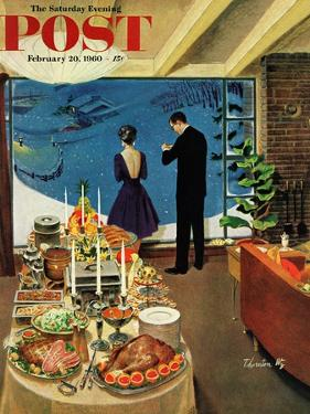 """""""Snow Buffet Party,"""" Saturday Evening Post Cover, February 20, 1960 by Thornton Utz"""