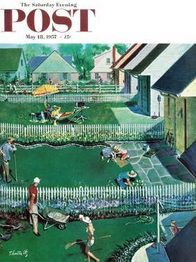 """Spring Yardwork"" Saturday Evening Post Cover, May 18, 1957 by Thornton Utz"