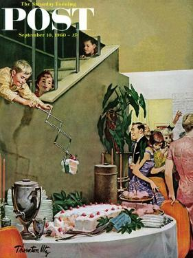 """""""Stealing Cake at Grownups Party,"""" Saturday Evening Post Cover, September 10, 1960 by Thornton Utz"""