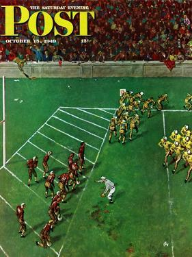"""""""Third Down, Goal to Go,"""" Saturday Evening Post Cover, October 15, 1949 by Thornton Utz"""