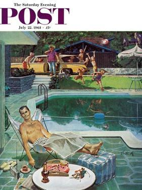 """""""Unwelcome Pool Guests,"""" Saturday Evening Post Cover, July 22, 1961 by Thornton Utz"""