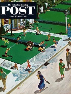 """Water Fight"" Saturday Evening Post Cover, June 30, 1951 by Thornton Utz"