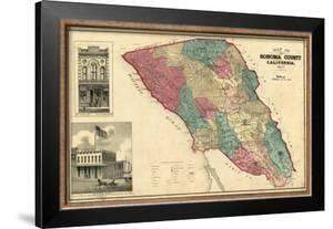 Map of Sonoma County California, c.1877 by Thos. H. Thompson