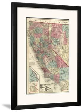 Map of the States of California and Nevada, c.1877 by Thos. H. Thompson