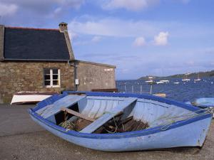 Blue Boat on Shore with the Harbour of Le Fret Behind, Brittany, France, Europe by Thouvenin Guy