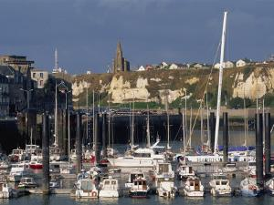 Boats and Yachts in the Harbour and Cliffs Beyond, Dieppe, Haute Normandie, France by Thouvenin Guy