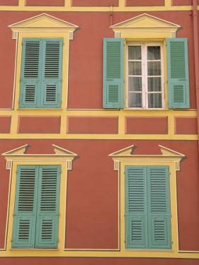 Exterior of a Formal Fa?e with Blue Shutters and Orange Walls, Ajaccio, Corsica, France by Thouvenin Guy
