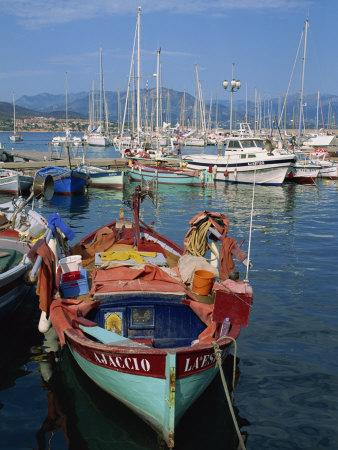 Fishing Boat Moored in the Harbour at Ajaccio, Island of Corsica, France, Mediterranean, Europe