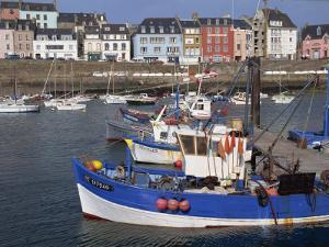 Fishing Boats in Harbour and Houses on Waterfront Beyond, Rosmeur, Douarnenez, Bretagne, France by Thouvenin Guy