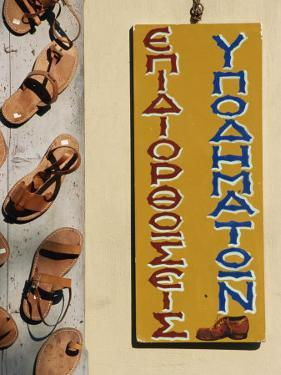 Leather Goods Shop Sign, Plaka, Athens, Greece, Europe by Thouvenin Guy