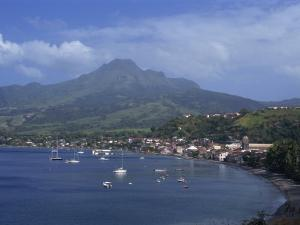 Saint Pierre Bay, with Mont Pele Volcano, Martinique, West Indies, Caribbean, Central America by Thouvenin Guy