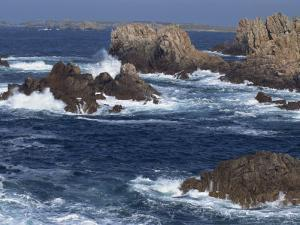 Sea Pounding Rocks on the Coast on the Cote Sauvage on Ouessant Island, Brittany, France, Europe by Thouvenin Guy