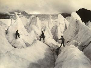 Three Alpinists on the Serac of the Low Part of Bossons Glacier