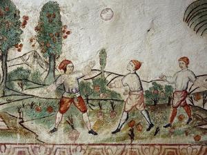 Three Creoles Playing Ball, Fresco, Peru, 18th Century