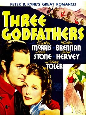 THREE GODFATHERS, from left: Chester Morris, Irene Hervey on window card, 1936