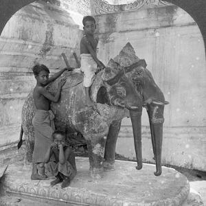 Three Headed Elephant Guarding a Sanctuary, Arakan Pagoda, Mandalay, Burma, 1908