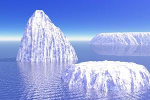 Three Icebergs in Ocean by Daylight