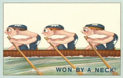 Three Intent Rowers, Won by a Neck