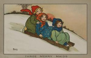 Three Little Girls Sliding Down a Hill on a Wooden Sledge