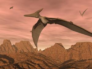 Three Pteranodon Dinosaurs Flying Above Rocky Landscape