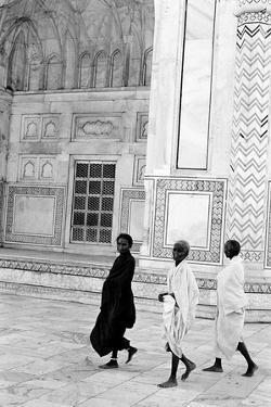 Three Sadhus Walking at Taj Mahal, Agra, Uttar Pradesh, India, 1982