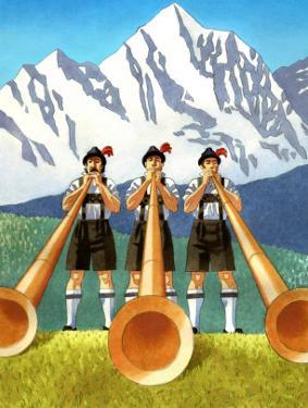 Three Swiss Men Playing Alphorns