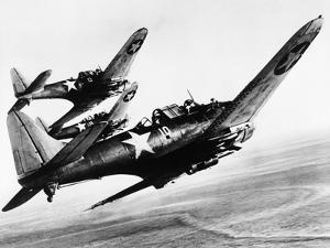 Three US Navy Dauntless Dive Bombers on a Fighting Mission in the Pacific, 1943