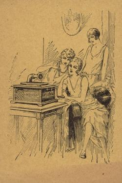 Three Young Women Listening to a Record Player