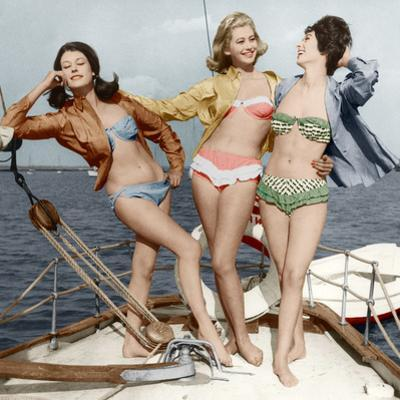 Three Young Women Wearing Bikinis Late 50's - Early 60's Colourized Document