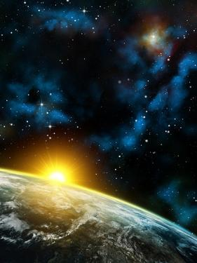 Gorgeous Space Panorama With The Earth, The Sun And Some Nebulas. Digital Illustration by Thufir