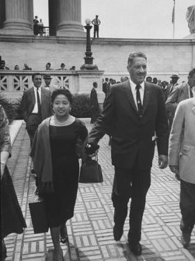 Thurgood Marshall Walking with His Wife