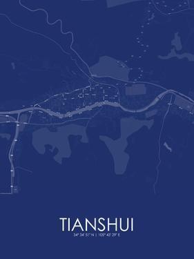 Tianshui, China Blue Map