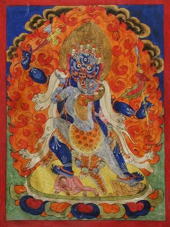 A Terrifying Deity in Yab-Yum, 19th century by Tibetan School