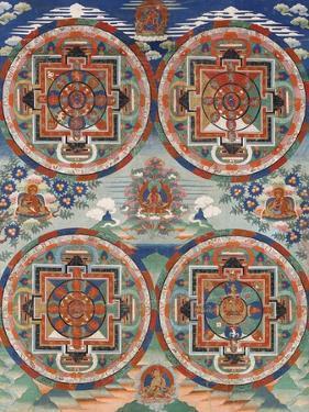 Tibetan Thangka with Four Mandalas