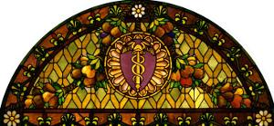 A Leaded and Plated Favrile Glass Window by Tiffany Studios