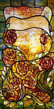 "A Leaded Favrile Glass ""Peony"" Window Screen by Tiffany Studios"