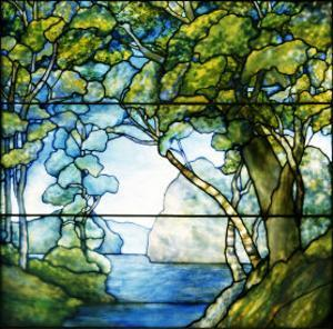 A Leaded Glass Landscape Window, 1916 by Tiffany Studios