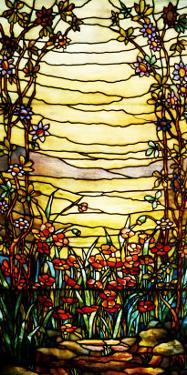 A Leaded Glass Landscape Window Depicting View of Red Flowers and a Stream by Tiffany Studios