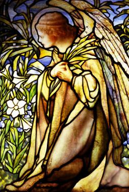 A Stained Glass Window of an Angel by Tiffany Studios