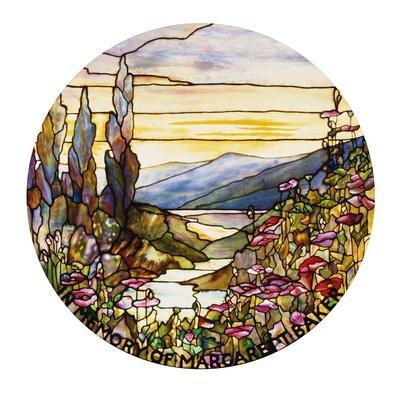 Fine Leaded Glass Window Enamelled Sunset with Mountains, circa 1900