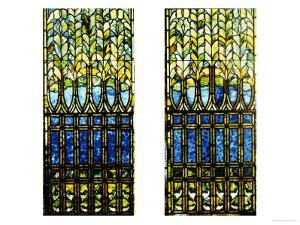 Two Leaded and Plated Glass Windows, circa 1910 by Tiffany Studios