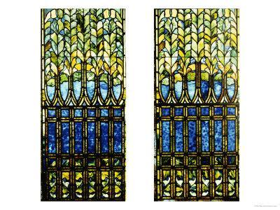 Two Leaded and Plated Glass Windows, circa 1910