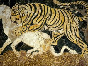 Tigress Attacking a Calf, Opus Sectile (Marble Inlay) Panel, 4th century AD Roman