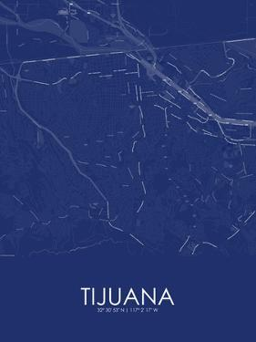 Tijuana, Mexico Blue Map