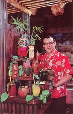Tiki Man with Exotic Drinks, Retro