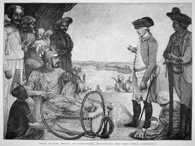 Shah Allum, Mogul of Hindostan, Reviewing the East India Company's Troops, after a 1781 Painting