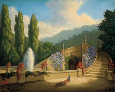 Garden with Peacock and Fountain by Tim Ashkar