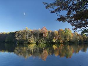 Crescent Moon Hangs over Price Lake, Blue Ridge Parkway, North Carolina, Usa by Tim Fitzharris