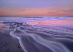 Fresh water stream flowing into the Pacific Ocean, Zuma Beach, Malibu, California by Tim Fitzharris